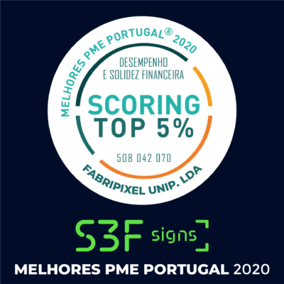 𝐒𝟑𝐅 𝐒𝐈𝐆𝐍𝐒 – Fabripixel Unip. Lda was distinguished as TOP 5% best SME Portugal 2020